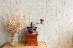 Kaffeehandschleifmaschine mit trockener Blume gegen Kunstwand mit Kopienraum Stockfotos