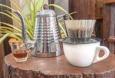Kaffeehandtropfenfängersatz Lizenzfreie Stockbilder