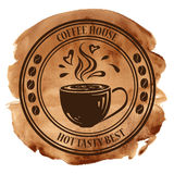 Kaffeehausstempel auf einem Aquarellhintergrund Stockbilder