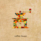 Kaffeehausvektorlogo Stockfoto