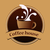 Kaffeehausweinlesefahnen-Designschablone Stockfotografie