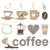 Kaffeeikonen Lizenzfreie Stockfotos