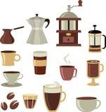 Kaffeeikonen/Zeichen eingestellt - 3 Lizenzfreie Stockfotografie
