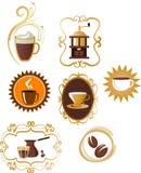 Kaffeeikonen/Zeichen eingestellt - 4 Lizenzfreies Stockfoto