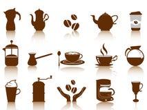 Kaffeeikonenset stock abbildung