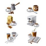 Kaffeeikonenset Lizenzfreie Stockfotos