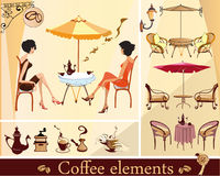 kaffeelementset Stock Illustrationer