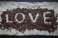 Kaffeeliebesherz Stockfoto