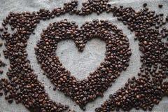 Kaffeeliebesherz Stockbild