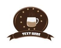 Kaffeelogosymbol-Ausweisfahne lokalisiert auf weißem Hintergrund Stockfotos