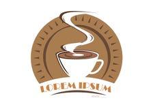 Kaffeelogosymbol lokalisiert auf weißem Hintergrund Stockfotos