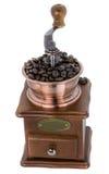 Kaffeemühle über weißem Hintergrund stockfotos