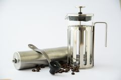 Kaffeemühle mit Franzosepresse Lizenzfreies Stockbild