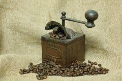 Kaffeemühle und Kaffee in den Körnern Stockbilder