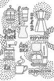 Kaffeemaschine, die amerikanische Presse, Kaffeemaschine, Schale Espresso, Latte und Schleifer lizenzfreie abbildung
