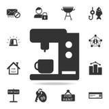 Kaffeemaschine-Maschinenikone Ausführlicher Satz Netzikonen Erstklassiges Qualitätsgrafikdesign Eine der Sammlungsikonen für Webs Lizenzfreie Stockfotos