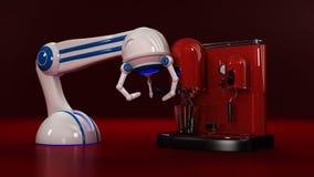 Kaffeemaschine mit Roboter Stockfotografie