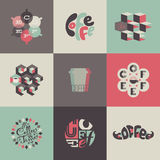 Kaffeemblem och etiketter. Uppsättning av affischer, design  Royaltyfria Foton
