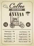 Kaffeemenü Stockfoto