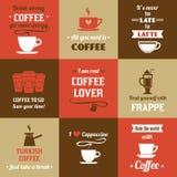 Kaffeeminiplakatsatz Lizenzfreie Stockfotografie