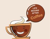 Kaffeemojikopp med roligt citationstecken stock illustrationer
