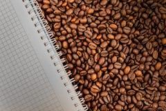 Kaffeenotizbuch Stockbilder