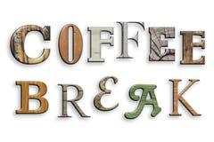 Kaffeepause des Textes 3d Hölzerne Beschaffenheit Zeichen auf Weiß Stockbild
