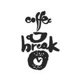 Kaffeepause-Kalligraphie-Beschriftung Stockfotografie