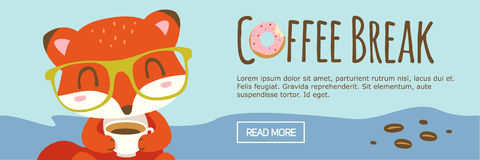 Kaffeepause-Karikaturfuchsfahne Lizenzfreies Stockbild