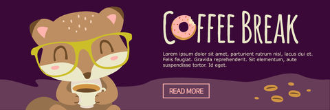 Kaffeepause-Karikaturfuchsfahne Lizenzfreie Stockfotos