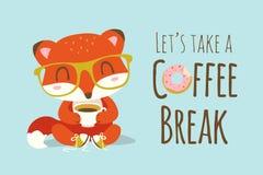 Kaffeepause-Karikaturfuchsillustration Stockfoto