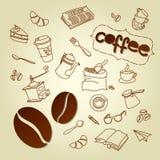 Kaffeepause-Menüvektor kritzelt Hintergrund Stockfoto