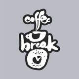 Kaffeepause-weiße Kalligraphie-Beschriftung Stockfotos