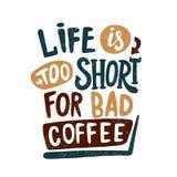 Kaffeepause-Weinleseillustration Weiß bewegt herum wellenartig Hand gezeichnete Beschriftung, Buchstabe Lizenzfreies Stockfoto