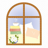 Kaffeepausevektor der hellen Fensterstadt Romanze Stockfoto