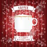 Kaffeeplakat mit weißer Schalenillustration Stockbilder