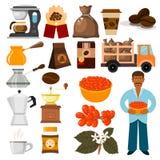 Kaffeeplantagevektorbohnen, Baum und Transportcafékaffeebean-Illustration lizenzfreie abbildung