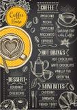 Kaffeerestaurant-Cafémenü, Schablonendesign Stockfoto