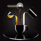 Kaffeerezept realistisch und Reflexion mit Luxusart Auch im corel abgehobenen Betrag lizenzfreie abbildung