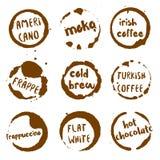 Kaffeesammlung runde Aquarellflecke mit Lizenzfreie Stockbilder