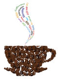 Kaffeeschlüsselwörter und Kaffeetasse Stockfotos