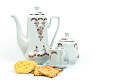 Kaffeeservice und Kaffee mit Biskuiten Lizenzfreies Stockfoto