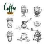 Kaffeeskizzenikonen Stockbilder