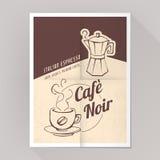 Kaffeespressoaffisch Arkivfoto