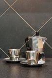 kaffeespressoset Fotografering för Bildbyråer