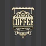 Kaffeestube bezogenes Vektordesign eines Ausweises Stockfotografie