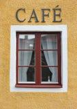Kaffeestube-Fenster Stockbild
