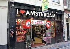 Kaffeestube im Rotlichtviertel in Amsterdam, die Niederlande Lizenzfreie Stockfotos