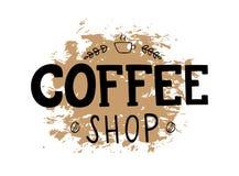 Kaffeestube-Logo mit Hand schriftlicher Beschriftung stock abbildung