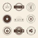 Kaffeestube-Logos, Ausweise und Aufkleber-Gestaltungselementsatz stockfotografie